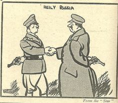 In this propaganda poster, you see two men shaking hands with guns behind their back. You can tell that the man on the left represents Germany or Hitler, due to the moustache and the outfit. The man on the right represents Russia, and you can tell this because of the large stereotypical coat. This tells people that Russia and Germany do not fully trust each other, depending on which country this was advertised in it could either panic people or make people agree.