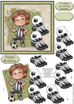 SOCCER STAR Black White Topper Decoupage Football Fans on Craftsuprint designed by Janet Briggs - Football card topper and step by step decoupage, featuring footballer in black and white strip. Footballs and football boots for decoupage.3 sentiment tags, including one blank. The others read,Happy BirthdayI'd rather be playing football - Now available for download!