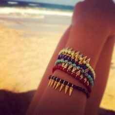Gold Spike Color Bracelets  Turquoise Green Black Red by shopkei, $20.00