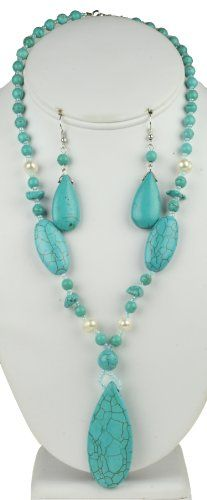 Turquoise Drop Natural Stone Necklace  Earring Set