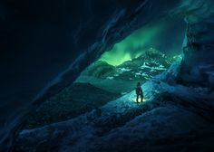 Picture of a person exploring Alberta's Athabasca cave under an aurora borealis