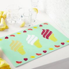 FRUITY ICE CREAM CONE VINYL PLACE MAT| Simons #simonsmaison #softpop #trend #decor #kitchen #fruit #summer #icecream