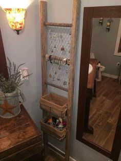 Jewelry Storage Jewelry holder made of net and old ladder - You have a lot of jewelry and confusion to keep where? This DIY jewelry holder ideas list will give you an idea how to keep jewelry using objects around