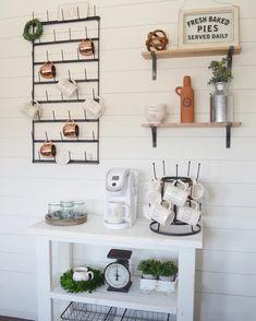 DIY Shiplap wall full of Rae dunn | farmhouse decor | Magnolia mug rack | Vintage scales and chippy white paint.