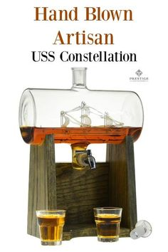 Beautifully created, hand blown artisan USS Constellation Prestige Decanter. Add your favorite liquor, wine, or whiskey and display during your next festive get together, holiday party, or men's night cave meeting. Great gift for the holidays! #holidays #giftsformen #artisan #handcreated #whiskey #bourbon #wine #oak #excellentgifts #birthdaygifts #weddinggifts #anniversarygifts #20 #30 #40 #50 Farmhouse Lighting, Rustic Lighting, Lighting Ideas, Rustic Home Interiors, The Prestige, Home Interior Design, Interior Ideas, Large Furniture, Constellations