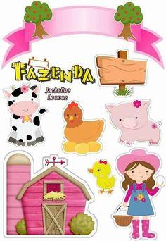 Topo de Bolo Fazendinha para editar e imprimir grátis - Mimo Kids Farm Animal Party, Farm Party, Printable Stickers, Planner Stickers, Diy And Crafts, Crafts For Kids, Cake Logo Design, Scrapbook Embellishments, Baby Decor