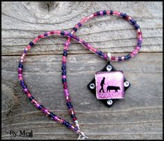 Show pig showman dichroic glass pendant with by hopthefence, $30.00
