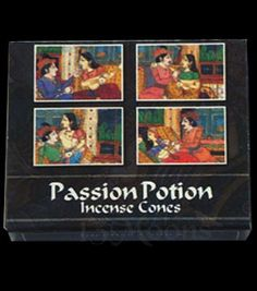 Passion Potion Cones of Passion Potion incense plus small metal burner in each box.This exotic scent is used to create a sensual mood. Burn to increase passion and desire.Kamini Incense cones by Kamini Aromatics of Bangalore, In
