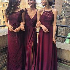 Looking utterly romantic in @morileeofficial by @madelinegardner bordeaux bridesmaids dresses. #Morilee