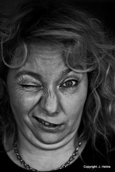 Wink ;) - Human Emotions - Black & White Portraits by JoeyHelms Photography