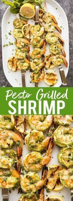 These Easy Pesto Grilled Shrimp make a quick appetizer or dinner These Easy Pesto Grilled Shrimp make a quick appetizer or dinner perfect for any summer evening. Grilling recipes | Easy grilling recipe | Low Carb Grilled recipes | Quick dinner | Healthy Dinner | Shrimp Recipes for Christmas