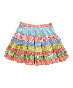 Another great find on #zulily! Blue & Pink Floral Tiered Ruffle Skirt - Girls #zulilyfinds