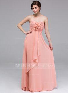 A-Line/Princess Sweetheart Floor-Length Chiffon Bridesmaid Dress With Flower(s) Cascading Ruffles (007037235)