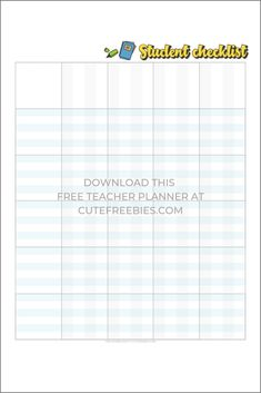 Teacher Planner For - Free Printable! - Cute Freebies For You Student checklist free printable Free Lesson Planner, Teacher Planner Free, Student Planner Printable, Work Planner, School Planner, Planner Template, Planner Pages, Teacher Binder Organization, Free Printables