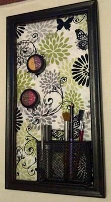 Magnetic Makeup Board with magnetic pencil holder attached for brushes, etc! Great idea. Cover a flat cookie sheet with fabric, then attach magnets to the back of make up.