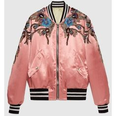 Gucci Reversible Sequin Acetate Bomber ($5,800) ❤ liked on Polyvore featuring outerwear, jackets, embroidered jacket, bomber jackets, red bomber jacket, embroidered bomber jackets and reversible jacket