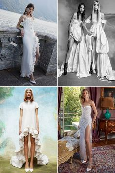 These Are the Top 20 Bridal Trends for 2020 Weddings Legs for Days - High-low hemlines have made wav Wedding Dress Trends, Wedding Suits, Wedding Dresses, Wedding Designs, Wedding Styles, True Bride, Popular Wedding Colors, Sleek Hairstyles, Civil Ceremony