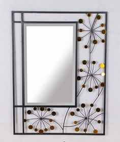 Wall Mirrors Decorative large modern geometric square decorative art décor metal frame