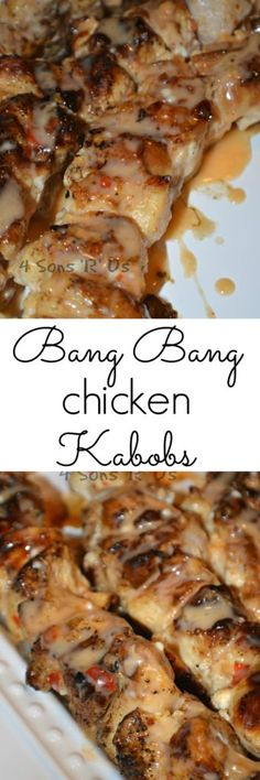 Bang Bang Chicken Kabobs: Freshly grilled chunky chicken skewers are slathered in a creamy, sweet & spicy sauce. Skewers full of juicy chunks of grilled marinaded chicken are slathered in a yummy sweet & spicy sauce. Sausage Recipes, Meat Recipes, Chicken Recipes, Dinner Recipes, Cooking Recipes, Cooking Fish, Cooking Games, Wing Recipes, Cocktail Recipes