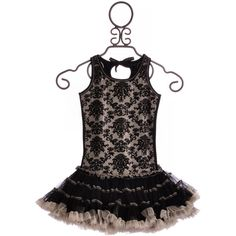 Ooh La La Black Damask Pettiskirt Dress ❤ liked on Polyvore featuring girls dresses