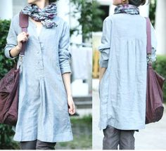Free Style Pleated Linen Dress/ 19 COLORS by Ramies on Etsy, $64.00