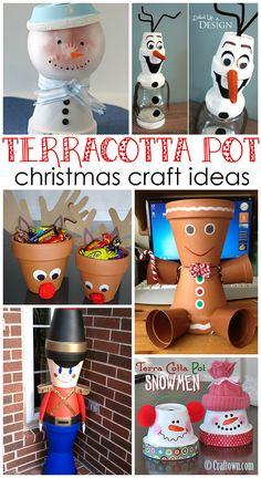 Terracotta Pot Christmas Craft Ideas. Use flower pots, paint, ribbon, glue, and other embellishments to make festive holiday decorations.