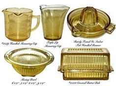 yellow depression glass - Google Search