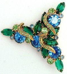 Vintage Juliana DeLizza and Elster Brooch Large  Glitters