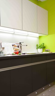 Fit cabinet lighting to illuminate the interior of wall mounted cabinet units, or cutlery and pan drawer lighting to stop you scrabbling around for the utensil you need.