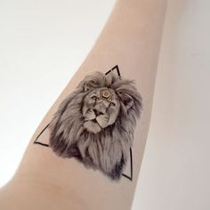 geometric capricorn tattoos | Large Temporary Tattoo Lion Animal Geometric Spring Accessories