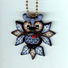 Hooty Owl With Blue Feathers Necklace Polymer Clay by Freeheart1, $20.00