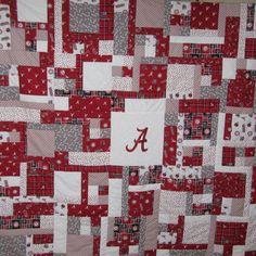 ALABAMA Quilt-My dad pieced this one! Good job Dad! Football Quilt, Alabama Football, Rag Quilt, Quilt Blocks, Alabama Quilt, Baby Quilt Patterns, Quilting Patterns, Sports Quilts, Vintage Handkerchiefs