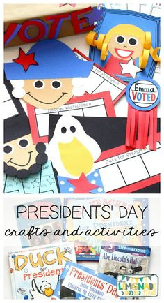 This Presidents' Day pack is the perfect ELA unit for the week of Presidents' Day.  It's full of Presidents' Day crafts, Presidents' Day activities, and has a focus on identifying key ideas and details in text.  Great for kindergarten through second grade.  Presidents Day craft | art | education