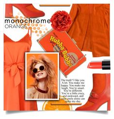 """Orange Crush"" by wuteringheights ❤ liked on Polyvore featuring Boutique Moschino, Hermès, WithChic, Anya Hindmarch, Gucci, Olsen, Bobbi Brown Cosmetics and monochrome"