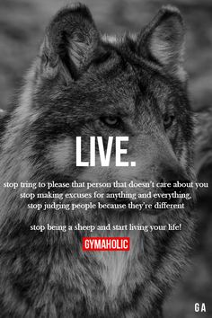 Fitness, Nutrition and Motivation Wolf Quotes, Me Quotes, Motivational Quotes, Inspirational Quotes, Great Quotes, Quotes To Live By, Amazing Quotes, Gym Quote, Gymaholic