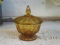 Vintage Amber Glass Lidded Candy Dish
