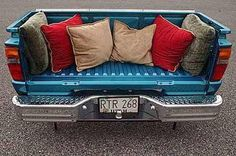 Truck bed couch for the man cave.