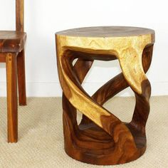 Haussmann Tapered Round Wild Twisted Vine Wood End Table inch Ht w Walnut Oil Fin Rustic Log Furniture, Luxury Home Furniture, Wood Furniture, Furniture Ideas, Log Coffee Table, Monkey Pod Wood, Wood Table Design, Walnut Oil, Drum Table