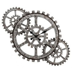 Industrial Gears Wall Clock ($70) ❤ liked on Polyvore featuring home, home decor, clocks, battery clock, battery powered wall clock, battery wall clocks, black clock and hand clock