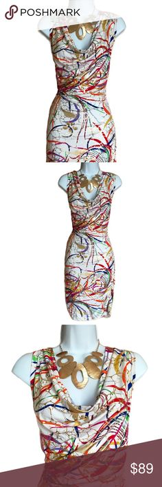 Sexy Bodycon Splatter Print Dress - Curve Hugging The colors in this dress are just incredible! Has drape neck, plunging back, and is rushed at the side and in back. Size is 2XL and the material is 92% polyester and 8% spandex. Measures about 37 inches in length, 19 inches across from armpit to armpit, and about 17 inches at the waist. The spandex material allows for another 6 inches of stretch. Eien Dresses