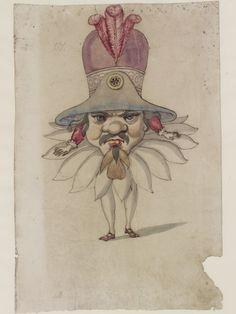 Ballet du Serieux et du Grotesque, 1627: Man with oversize head and hat, (Ballet de Cour of Louis XIII), Daniel Rabel,V&A S.1177-1986