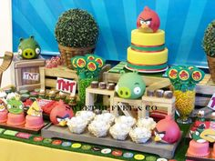 Awesome dessert table at an Angry Birds birthday party! See more party ideas at CatchMyParty.com!