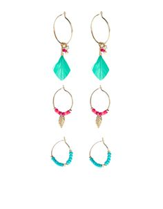 Get holiday-ready with our three-pair pack of Havana hoop earrings, decorated with feathers, beads and intricately-detailed charms. Please be aware that this item is non-refundable. Accessorize Bags, Jewelry Box, Jewellery, Women's Accessories, Hoop Earrings, Havana, Feathers, Charms, Stuff To Buy