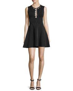 TBXGU Herve Leger Sleeveless Fit-&-Flare Cutout Dress, Black