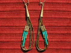 Southwest Sterling Silver / Liquid Silver Turquoise Dangle Earrings