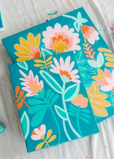 Simple Canvas Paintings, Cute Paintings, Artwork Paintings, Mini Canvas Art, Diy Canvas, Small Canvas Art, Gouache Painting, Painting & Drawing, Paint By Number Diy