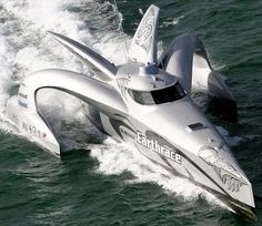 World's Fastest Boat Earthrace is a 78 foot alternative fuel powered wave-piercing trimaran; part of a project to break the world record for circumnavigating the globe in a powerboat