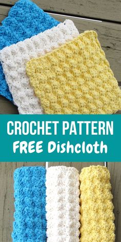 Dishcloth or Washcloth Crochet Pattern, Free Crochet Pattern - This textured crochet dishcloth pattern is perfect for beginners. The free easy pattern works up qu - Crochet Scrubbies, Crochet Towel, Bag Crochet, Crochet Motifs, Crochet Potholders, Crochet Gifts, Washcloth Crochet, Crochet Dishcloths Free Patterns, Free Crochet Patterns For Beginners