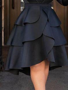 Kleider Falbala Plain Knee-Length Cupcake Skirts Casual Women's Skirt Don't Build A House Without Ba Mode Outfits, Skirt Outfits, Dress Skirt, Fashion Outfits, Womens Fashion, Fashion Tips, Fashion Skirts, Latest Fashion, 1960s Fashion Women