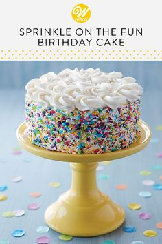 Every birthday deserves a great cake! With this Sprinkle on the Fun Birthday Cake, you can create a birthday treat that is party ready in no time. Use a collection of sprinkles to decorate the sides of your cake, then top your cake with rosettes for a Cake Decorating Designs, Cake Decorating For Beginners, Wilton Cake Decorating, Birthday Cake Decorating, Cool Birthday Cakes, Simple Cake Decorating, Birthday Treats, Bolo Confetti, Bolo Laura